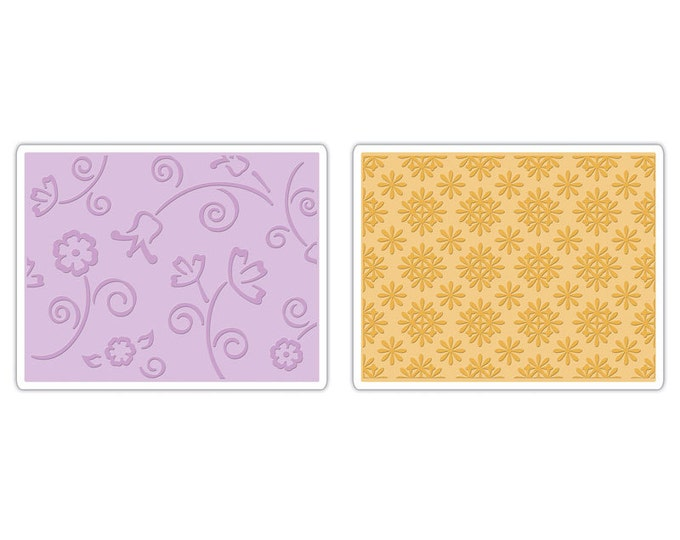 Sizzix Textured Impressions Embossing Folders 2PK - Flower & Wreath Set 657380