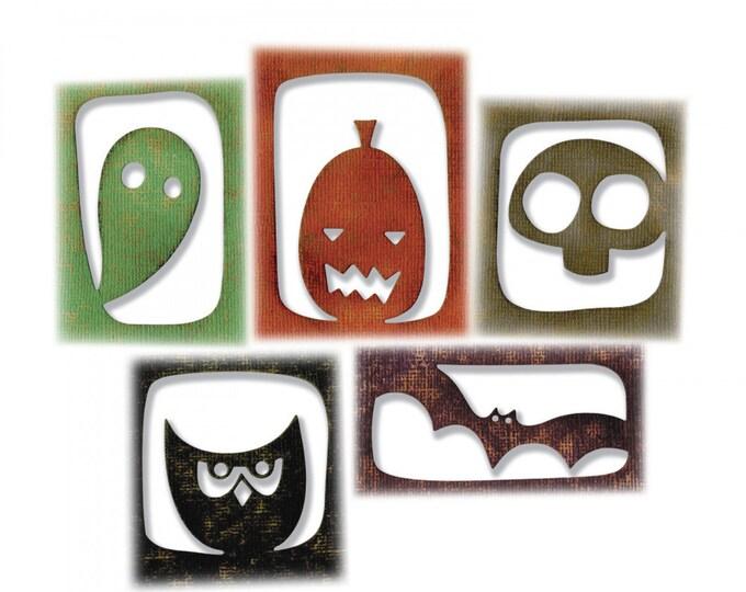 New! Sizzix Tim Holtz Thinlits Die Set 5PK - Halloween Hangouts 663088