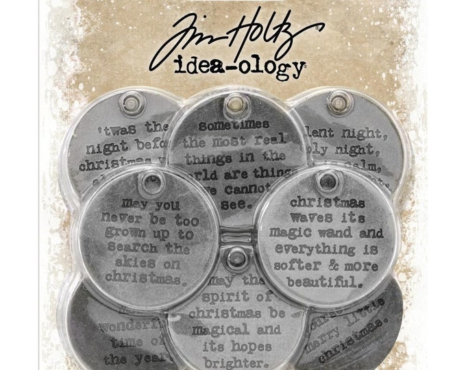 Tim Holtz Idea-Ology Metal Quote Tokens (Charms) - Christmas Theme TH93751 New for 2018