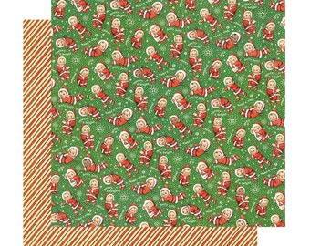 2 Sheets of CHRISTMAS MAGIC Scrapbook Cardstock by Graphic 45 Paper - Santa's Little Helpers (4501728)