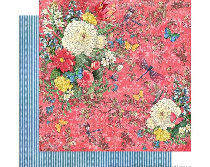 New! 2 Sheets of Graphic 45 FLUTTER Scrapbook Cardstock Paper - Dazzling (4501770)