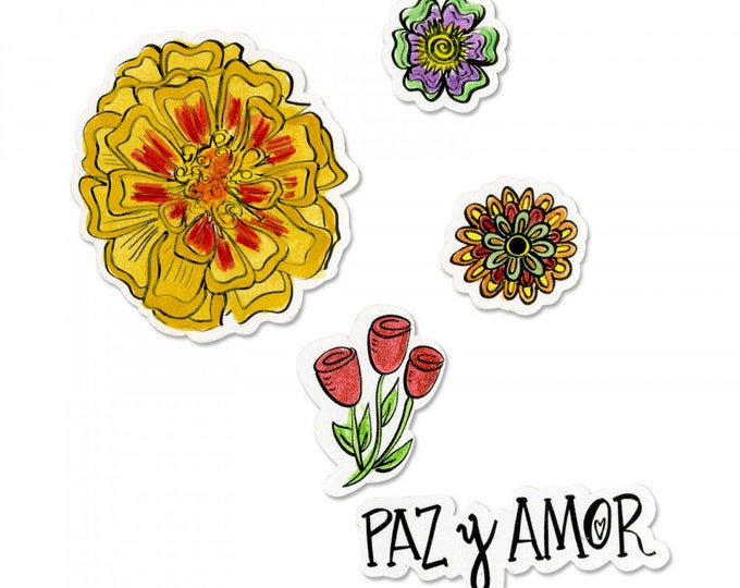 New! Sizzix Framelits Die Set 5PK w/Stamps - Paz y Amor (Peace & Love)  by Crafty Chica 663142