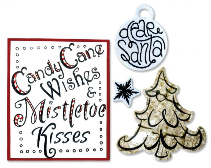 New! Sizzix Framelits Die Set 6PK w/Stamps - Candy Cane Wishes by Lindsey Serata 661550