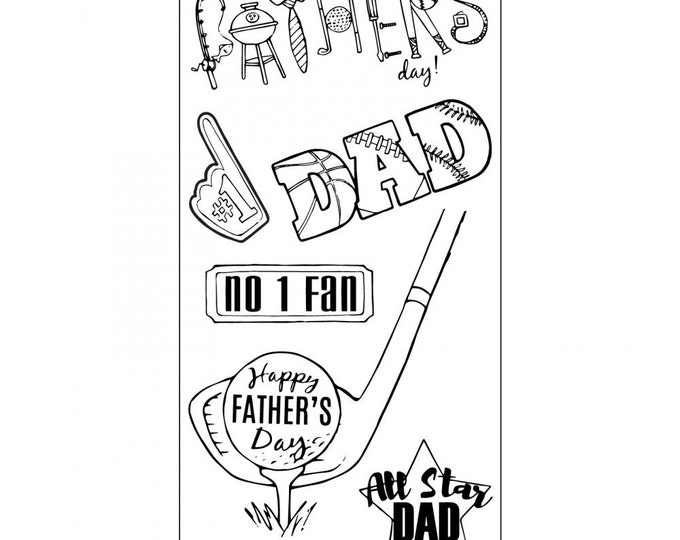 New! Sizzix Clear Stamps - All Star Dad - Father's Day Theme Stamps by Jen Long 662004