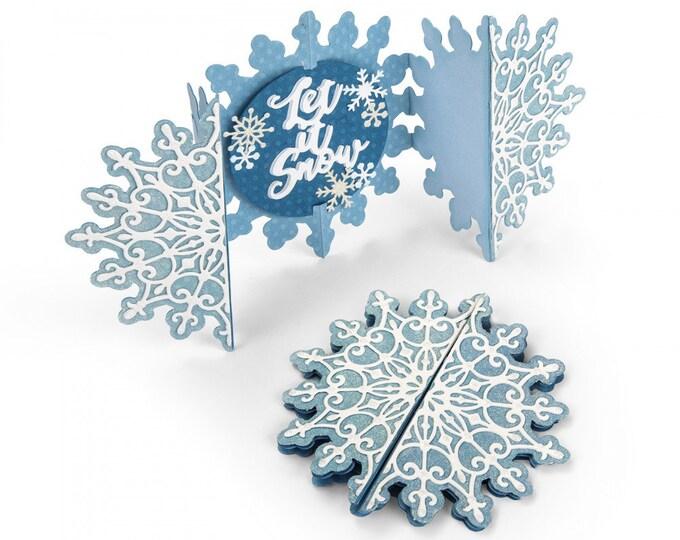 New! Sizzix Thinlits Die Set 5PK - Card, Snowflake Fold-a-Long by Jen Long 663175