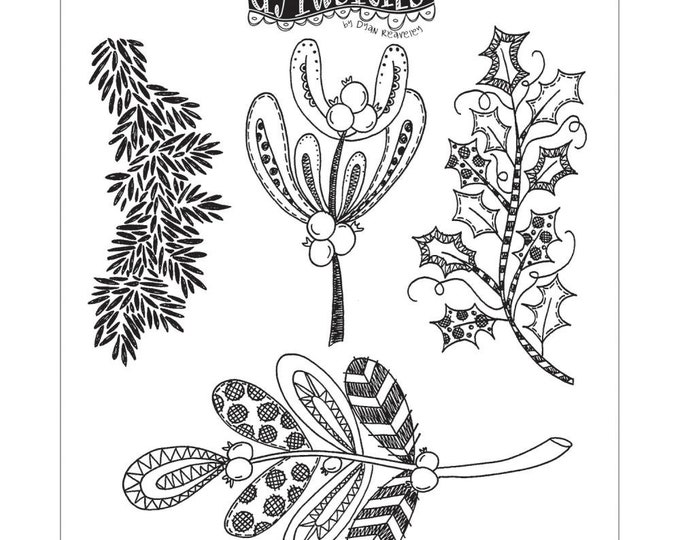 New! Dylusions KISS ME Under The MISTLETOE Cling Mount Rubber Stamps Set by Dyan Reaveley