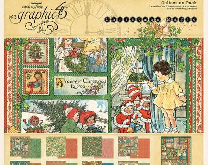 Graphic 45 CHRISTMAS MAGIC 12x12 Double-Sided Scrapbook Paper Collection Pack