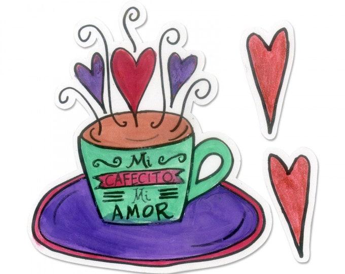 New! Sizzix Framelits Die Set 3PK w/Stamps - Mi Cafecito Mi Amor (My Coffee My Love) by Crafty Chica 663143