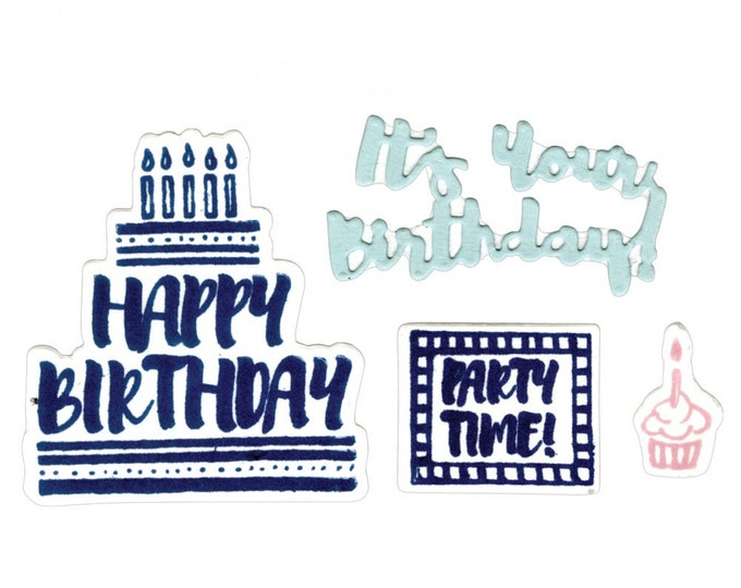 New! Sizzix Framelits Die Set 4PK w/Clear Stamps - It's Your Birthday 661857