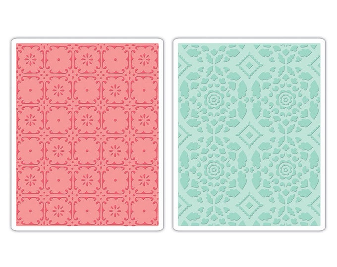 Sizzix Textured Impressions Embossing Folders 2PK - Fleur Tile & Kaleidoscope Crescents Set 657397