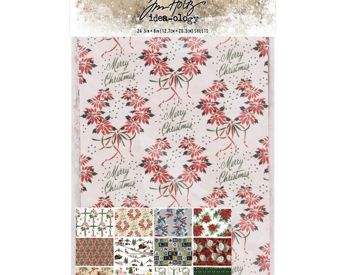 "Tim Holtz Idea-Ology 5"" x 8"" Worn Wallpaper - Christmas - Pack of 24 Sheets (TH93777) New for 2018"
