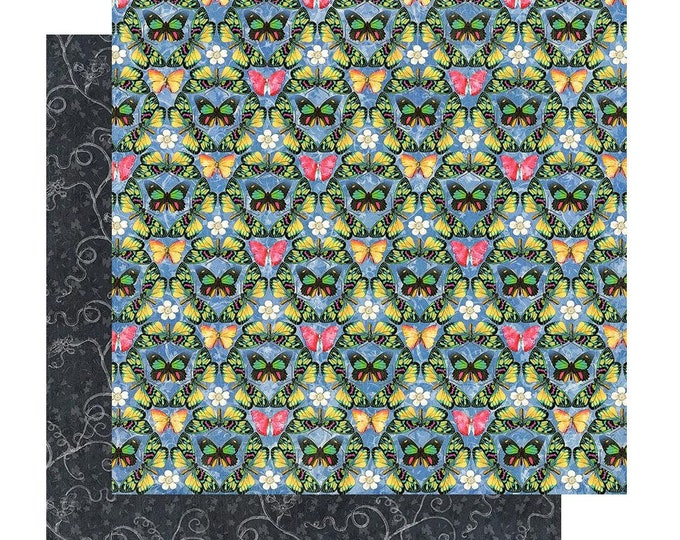 New! 2 Sheets of Graphic 45 FLUTTER Scrapbook Cardstock Paper - Iridescent (4501771)