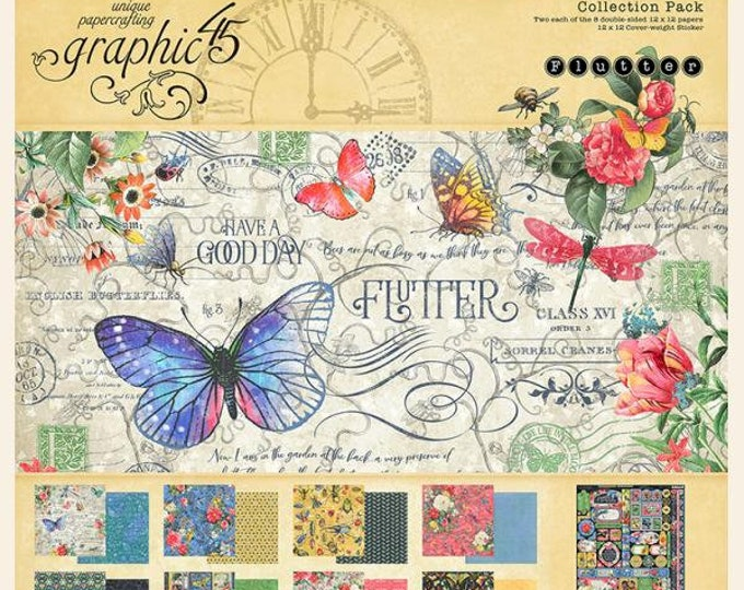 New! Graphic 45 FLUTTER 12x12 Double-Sided Scrapbook Paper Collection Pack