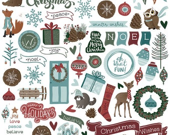 1 - 12x12 Sheet of Photo Play WINTER MEADOW Christmas Holiday Theme Scrapbook Element Stickers