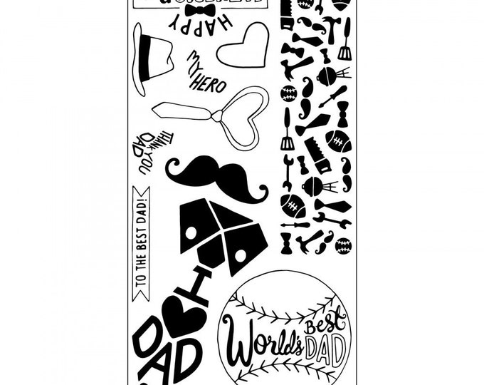 New! Sizzix Clear Stamps - World's Best Dad - Father's Day Theme Stamps by Katelyn Lizardi 662006