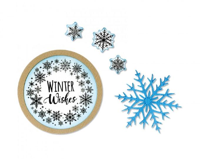 New! Sizzix Framelits Die Set 6PK w/Stamps - Snowflake Wreath by Jen Long 663169