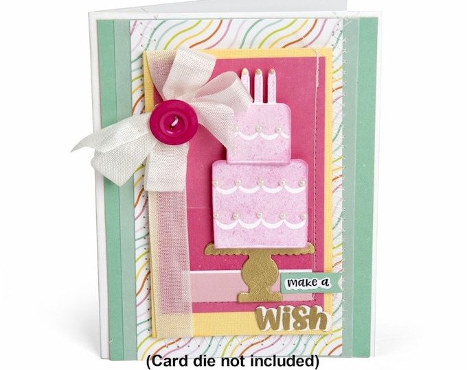 New! Sizzix Framelits Die Set 9PK w/Stamps - Make a Wish Cake by Lori Whitlock 662802