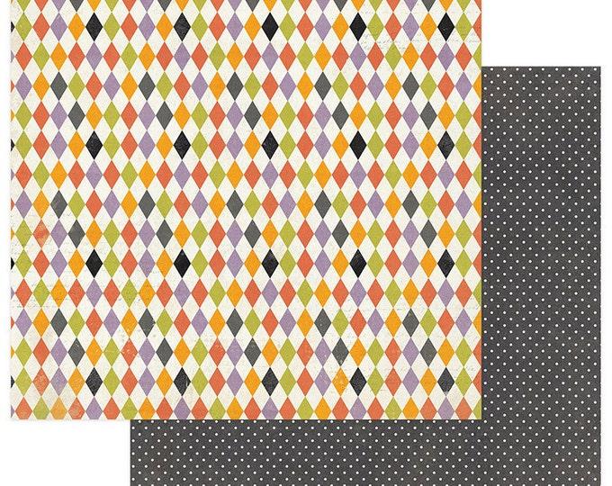 2 Sheets of Photo Play BOOTIFUL 12x12 Halloween Scrapbook Paper - Harlequin