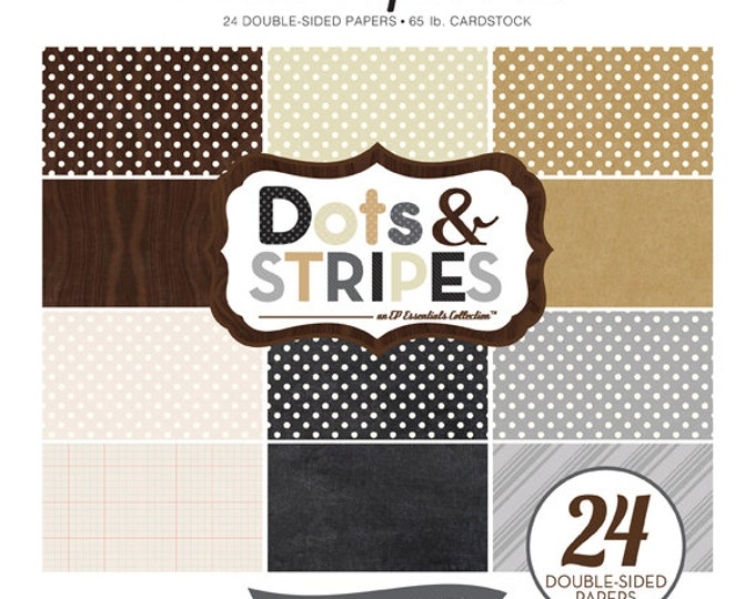 Echo Park Paper DOTS & STRIPES Neutrals 8x8 Scrapbook Paper Pad (DS15024)
