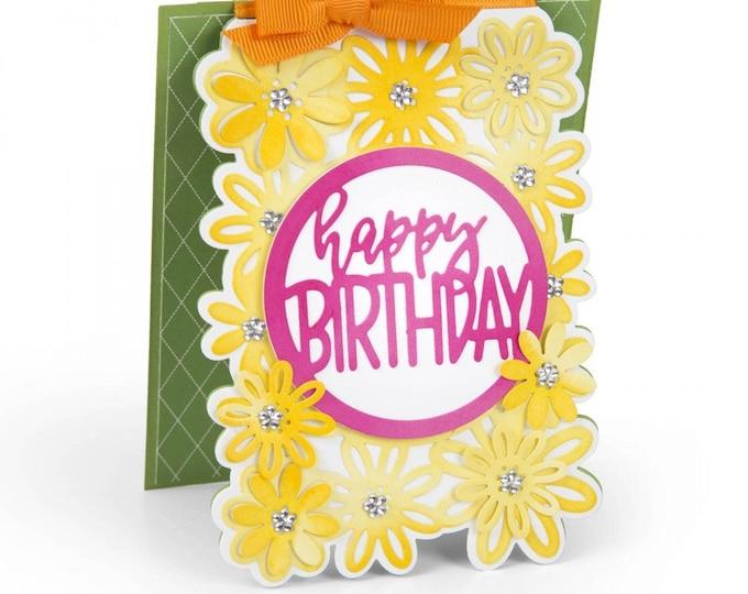 New! Sizzix Framelits Die Set 4PK - Card w/Flowers & Circle Drop-ins by Stephanie Barnard 662741
