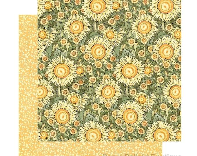 New! 2 Sheets of Graphic 45 GARDEN GODDESS Scrapbook Cardstock Paper - Sunlit Petals (4501751)