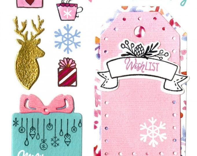 New! Sizzix Framelits Die Set 9PK w/Stamps - Christmas Planner by Katelyn Lizardi 662290