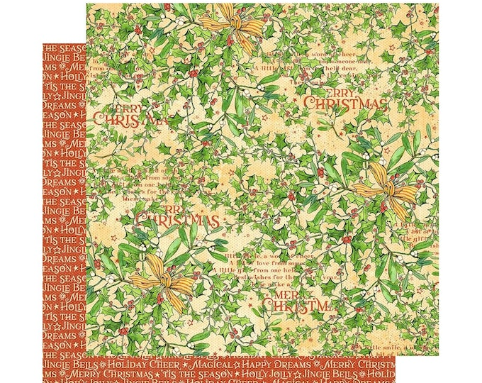 2 Sheets of CHRISTMAS MAGIC Scrapbook Cardstock by Graphic 45 Paper - Happy Holly Days (4501727)