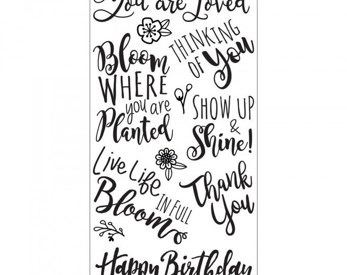 New! Sizzix Clear Stamps - Blooming Sentiments by Lindsey Serata 662766
