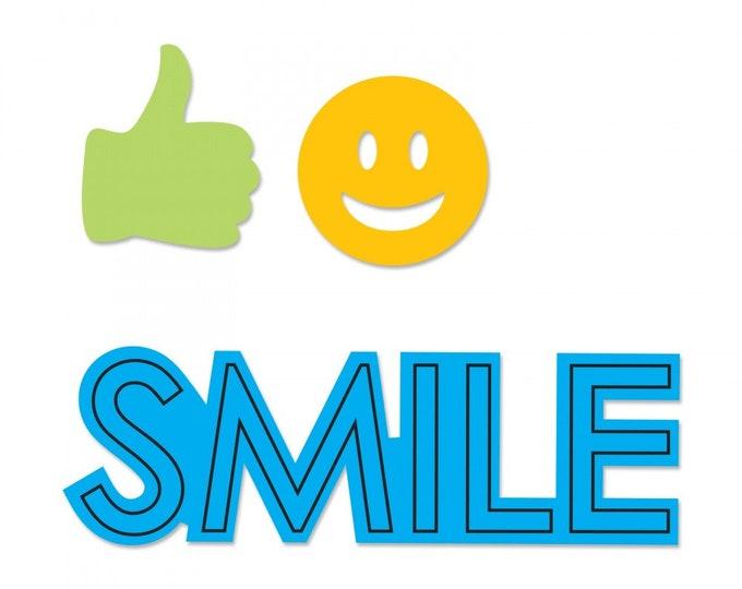 New! Sizzix Framelits Die Set 3PK w/Stamps - Smile by Katelyn Lizardi 662938