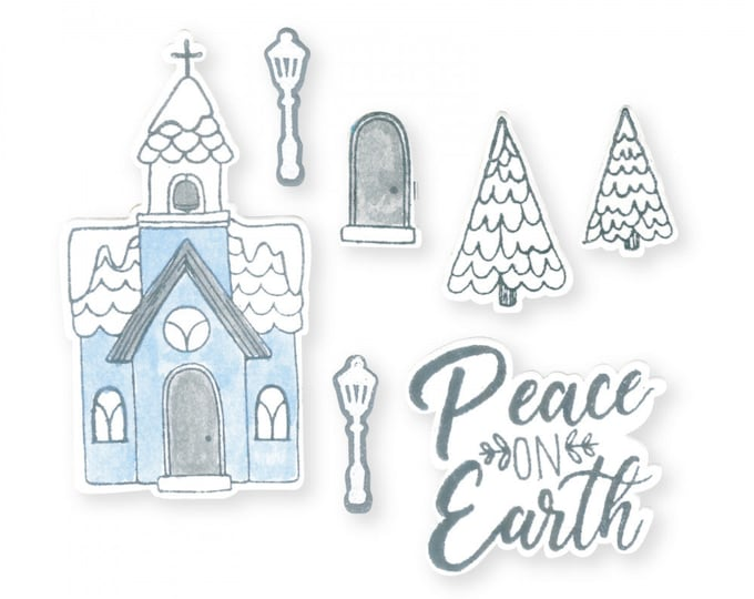 New! Sizzix Framelits Die Set 9PK w/Stamps - Church, Peace on Earth by Katelyn Lizardi 663163