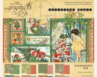 Graphic 45 CHRISTMAS MAGIC 8x8 Double-Sided Scrapbook Paper Pad