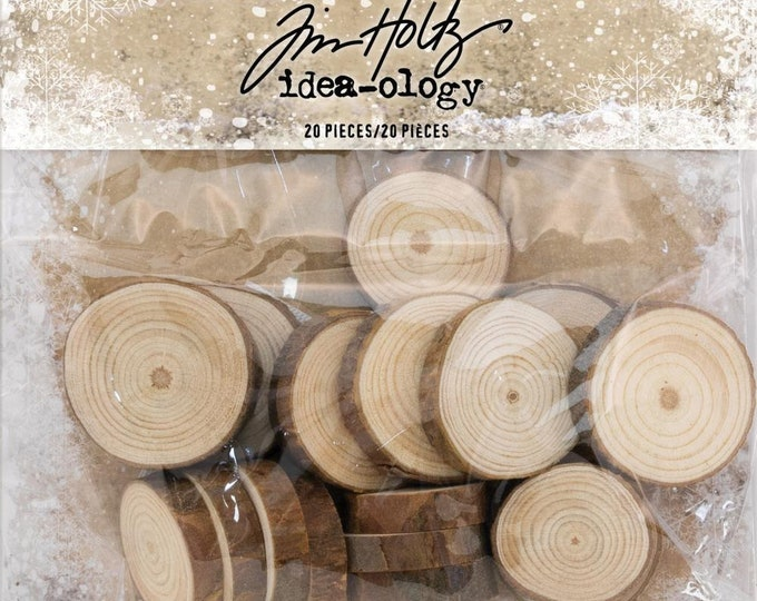Tim Holtz Idea-Ology Wood Slices - Pack of 20 (TH93745) New for 2018
