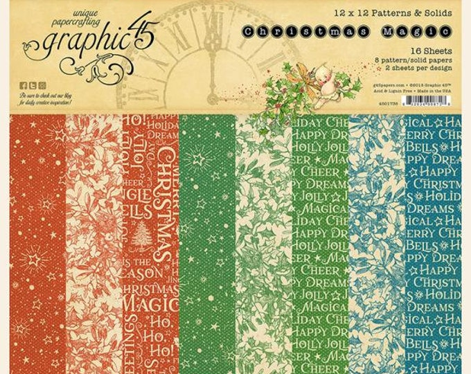 Graphic 45 CHRISTMAS MAGIC 12x12 Patterns & Solids Double-Sided Scrapbook Paper Pad