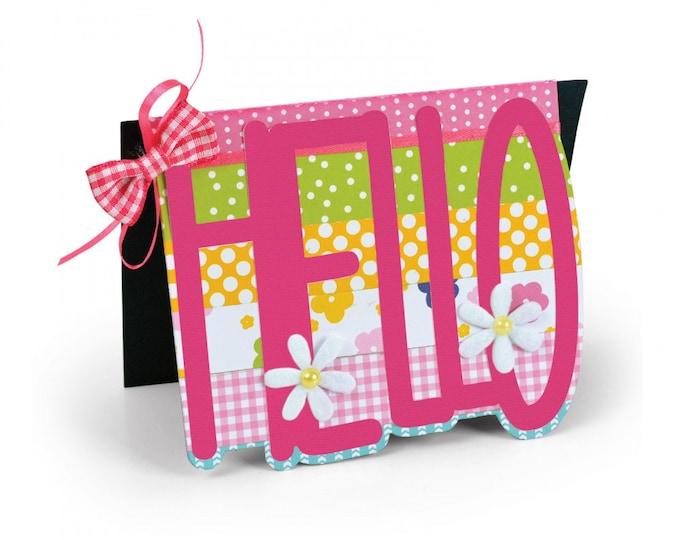 New! Sizzix Framelits Die Set 3PK - Card, Hello Drop-ins by Stephanie Barnard 663123