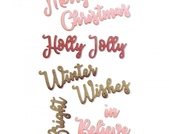 New! Sizzix Thinlits Die Set 9PK - Christmas Phrases by Jen Long 663171
