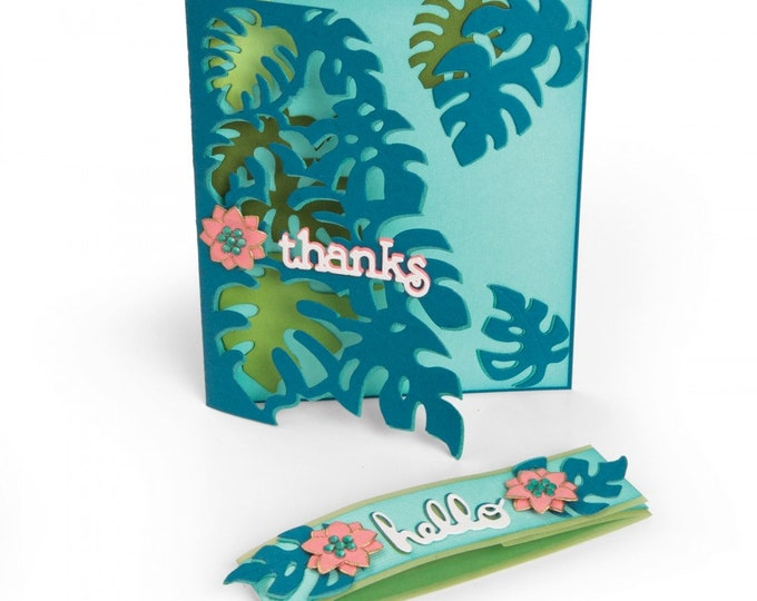 New! Sizzix Thinlits Die Set 5PK - Card Front, Tropicool Leaves by Lynda Kanase 662785