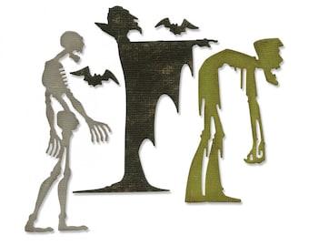 New! Sizzix Tim Holtz Thinlits Die Set 4PK - Ghoulish 663091