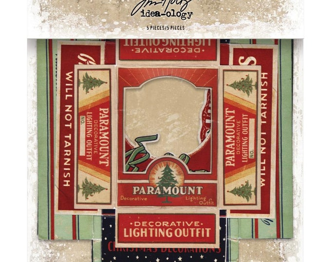 Tim Holtz Idea-Ology Vignette Box Tops - Christmas - Pack of 5 (TH93755) New for 2018