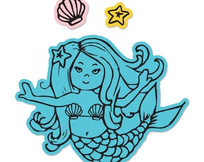 New! Sizzix Framelits Die Set 2PK w/Stamps - Mermaid by Jen Long 662930