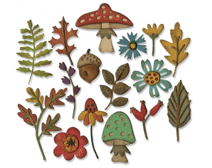 New! Sizzix Tim Holtz Thinlits Die Set 20PK - Funky Foliage 663087
