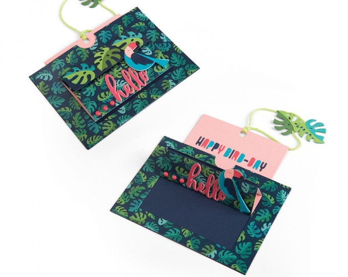 New! Sizzix Framelits Die Set 12PK - Card, Tropicool Slider by Lynda Kanase 662783