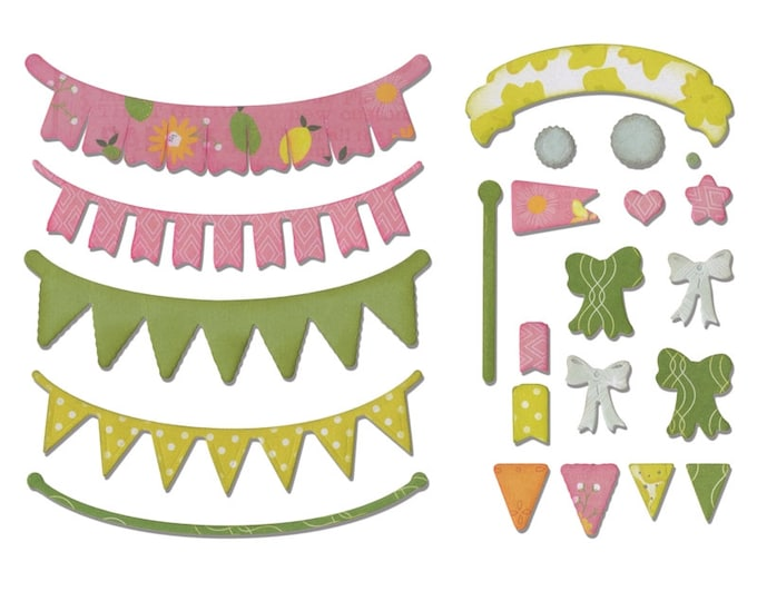 New! Sizzix Thinlits Die Set 24PK - Banners, Adjustable Length by Rachael Bright 660648