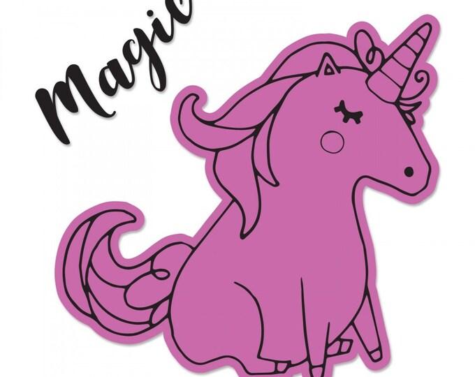 New! Sizzix Framelits Die w/Stamps - Unicorn #2 by Katelyn Lizardi 662943