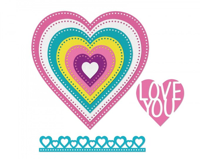 New! Sizzix Framelits Die Set 9PK - Hearts, Dotted by Stephanie Barnard 662730