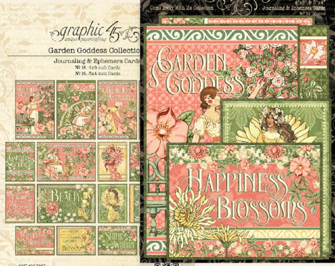 New! Graphic 45 GARDEN GODDESS Journaling & Ephemera Cards (4501757)