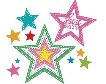 New! Sizzix Framelits Die Set 14PK - Stars, Dotted by Stephanie Barnard 662731