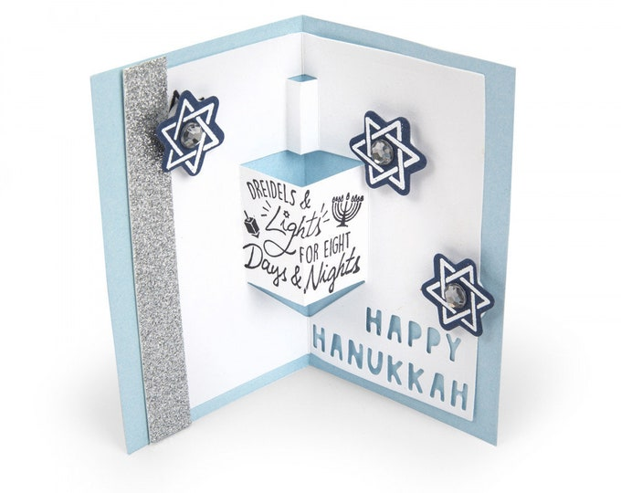 New! Sizzix Framelits Die Set 8PK w/Stamps - Dreidel Pop-Up Card by Lindsey Serata 663164