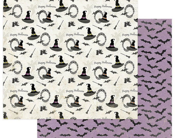 2 Sheets of Photo Play BOOTIFUL 12x12 Halloween Scrapbook Paper - Witches Hats