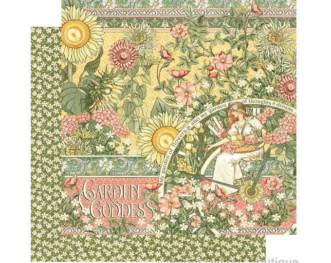 New! 2 Sheets of Graphic 45 GARDEN GODDESS Scrapbook Cardstock Paper - Garden Goddess (4501744)