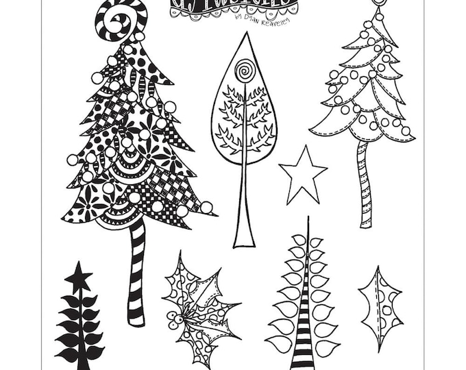 New! Dylusions WOOD FOR The TREES Cling Mount Rubber Stamps Set by Dyan Reaveley